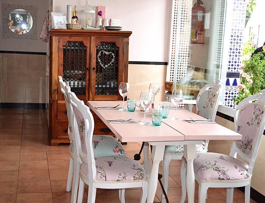 Seating inside The Little Geranium Restaurant