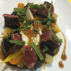 Magrait Duck, cooked rare with caramelised orange sauce