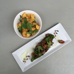 Strips of Irish peppered beef fillet with Spanish green pimento