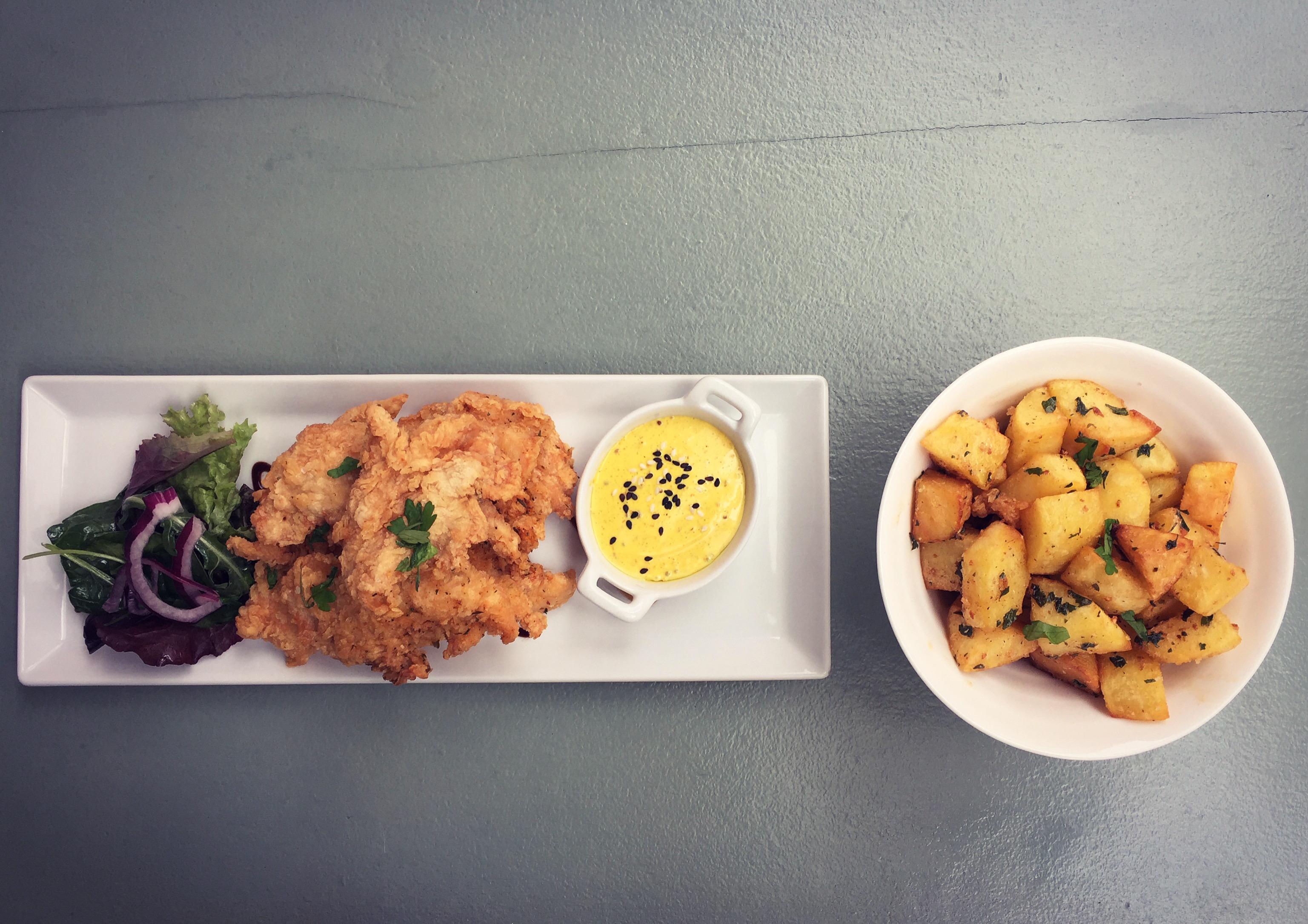 Crispy Chicken goujons with curry mayo & Irish Garlic Potatoes