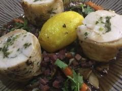 Free range Galician Chicken Sous Vide, coq au vin juices